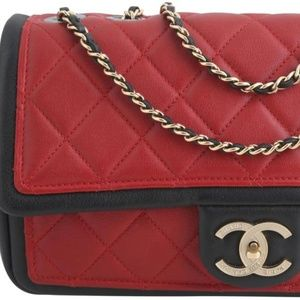 Chanel Red Quilted Graphic Medium Flap Bag